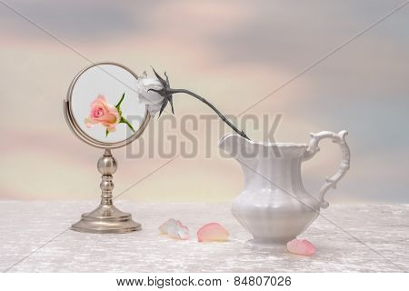 Concept of vanity with faded rose and fresh rose reflection