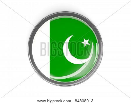 Round Button With Flag Of Pakistan