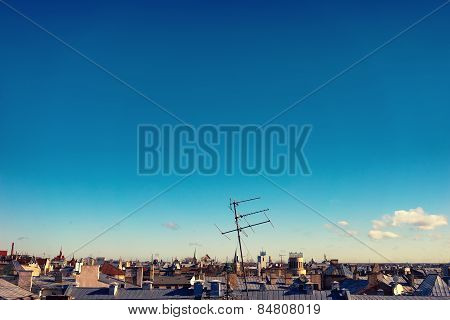 The Antenna On The Roof Of A House In The City