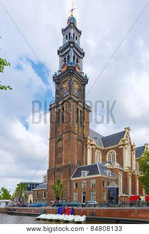 Amsterdam canal and church Westerkerk, Netherlands