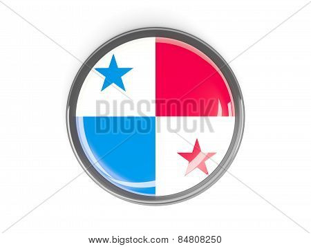 Round Button With Flag Of Panama