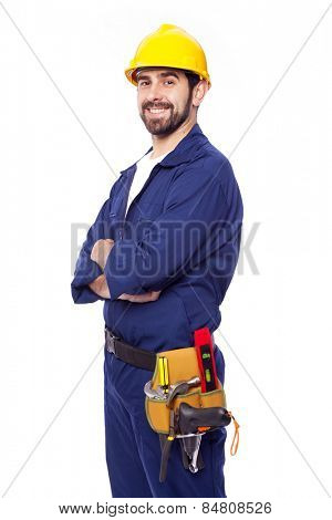 Portrait of a handsome smiling contractor, isolated on white