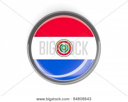 Round Button With Flag Of Paraguay