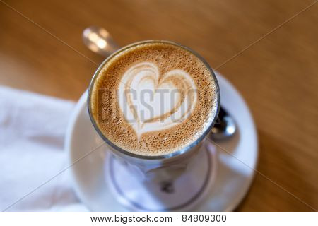 Caffe Latte With Heart Shape Foam Pattern