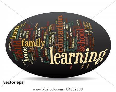 Vector conceptual 3D ellipse education abstract word cloud on black background metaphor to child family, school, life, learn, knowledge, home, study, teach, educational, achievement, childhood or teen