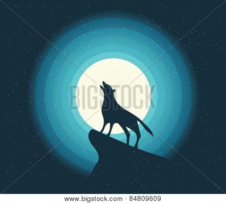 Vector. Wolf Howling in the Moonlight