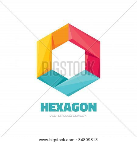Hexagon - Vector logo concept illustration. Hexagon geometric polygonal logo. Hexagon abstract logo.