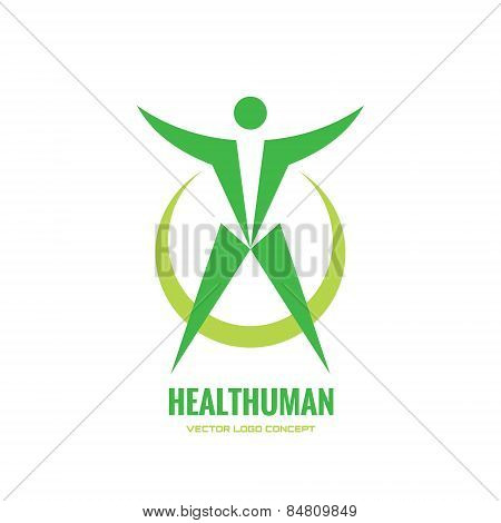 Healthuman - vector logo concept. Abstract human illustration. Human character. Vector logo template