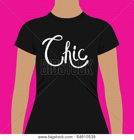 Simple Black Shirt Template with Chic Text