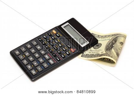 Business still-life with objects of business. Dollars and calculator