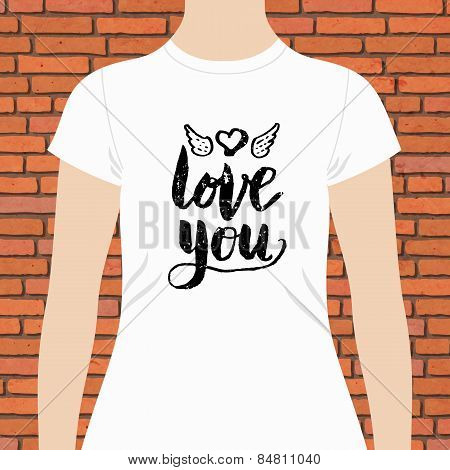 White Shirt with Love You Text and Winged Heart