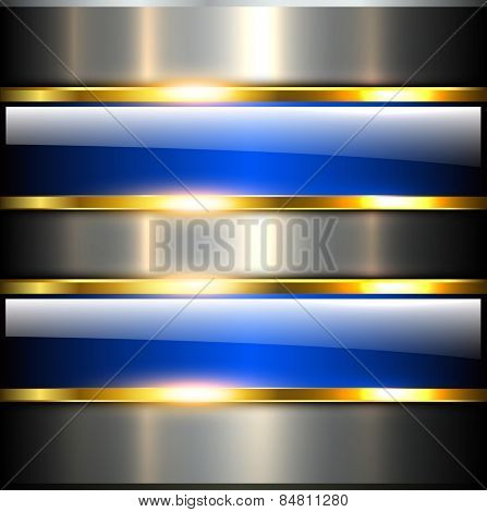 Abstract background glossy and shiny blue metallic, vector illustration.