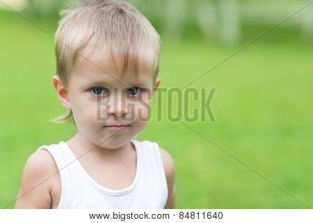 Portrait of a little boy on a background of green vegetation. Boy three years.