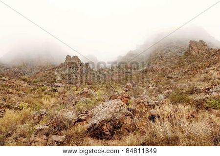 Foggy weather in Parque Natural de Pilancones in Gran Canaria, Canary Islands, Spain