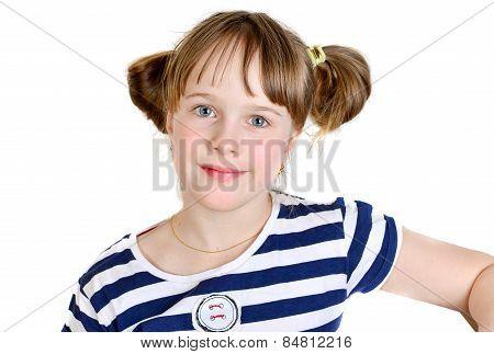 Happy Little Girl In Studio