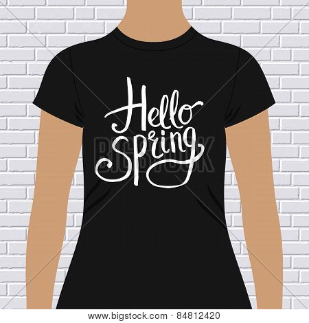Hello Spring simple t-shirt design