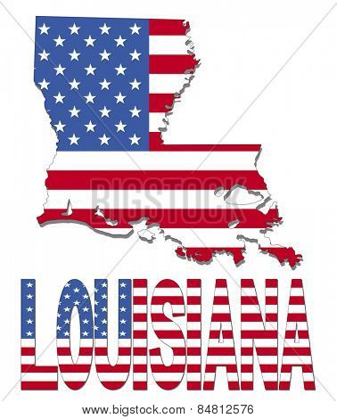 Louisiana map flag and text illustration