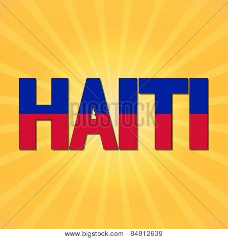 Haiti flag text with sunburst illustration