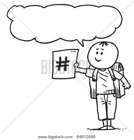 Schoolkid with hash tag sign speaking