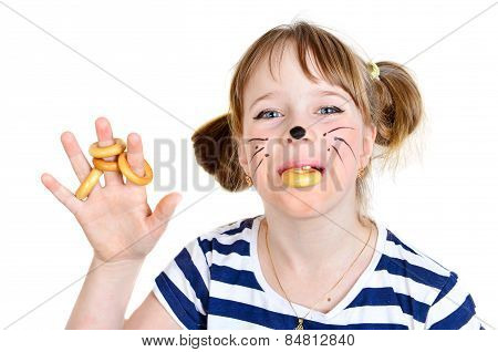 Little Mouse Girl With Bread