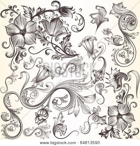 Collection Of Vector Decorative Swirls In Vintage Style For Design