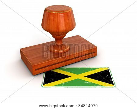 Rubber Stamp Jamaican flag (clipping path included)