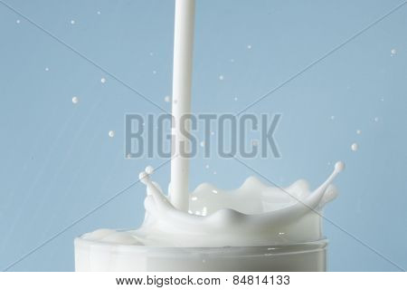 Splash of milk in glass on blue background