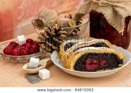 Poppy seed strudel with cherry