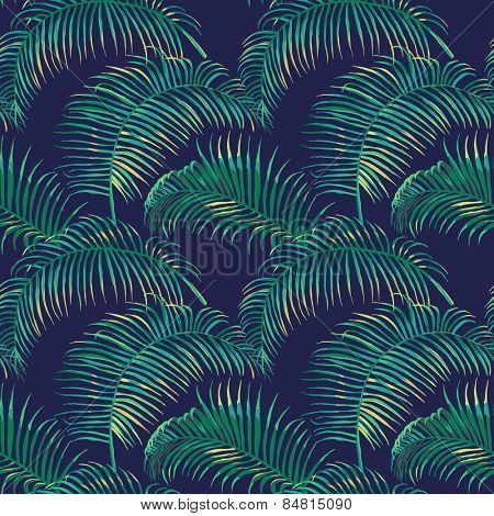 Tropical Leaves Background - Vintage Seamless Pattern - in vector