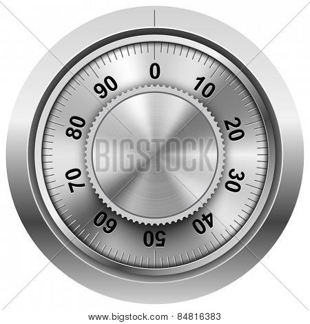 Chrome safe combination lock wheel vector template.
