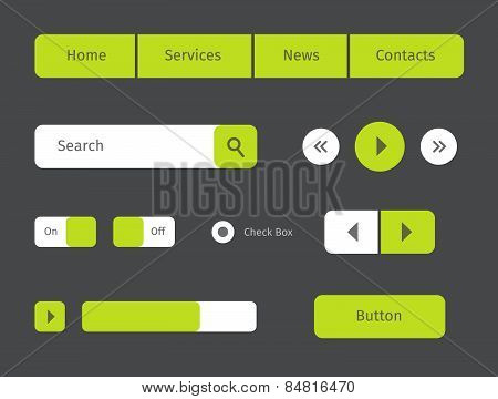 Set Of Green Web Buttons