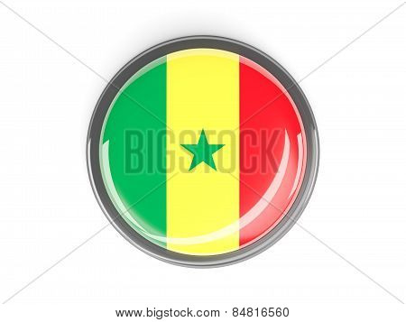 Round Button With Flag Of Senegal