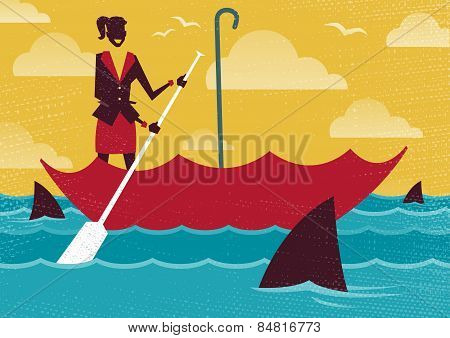 Businesswoman Uses Umbrella To Sail To Safety.