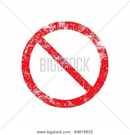 Not Allowed Sign Red Grunge Rubber Stamp Vector Illustration.