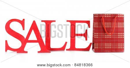 Sale with bag isolated on white