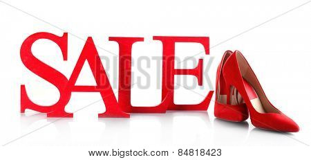 Sale with shoes isolated on white