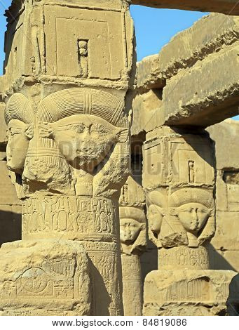Ancient Egyptian fertility goddess Hathor sculptures on the pillars in the temple of Dendera
