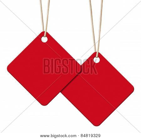 Hanging Blank Red Tags Isolated On White With Clipping Path.