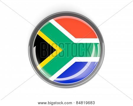 Round Button With Flag Of South Africa