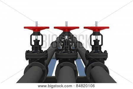 Three black pipes with valves