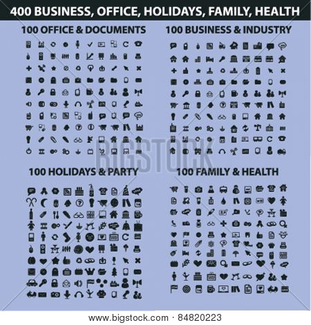 400 business, office, holidays, family, health, travel, industry, document, mobile, website, internet isolated icons, signs, illustrations concept set on background. vector