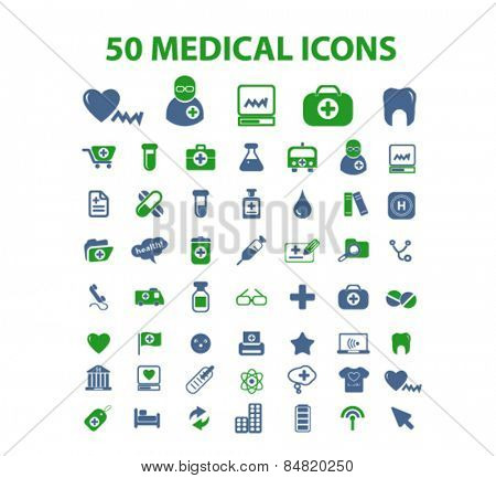 50 medical, health, hospital isolated icons, signs, illustrations concept set on background. vector