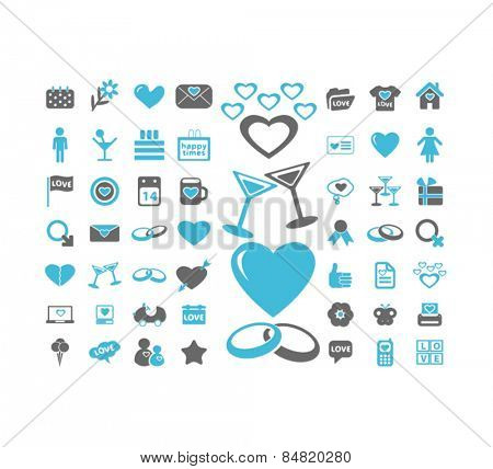 heart, love, wedding, romance, relations isolated icons, signs, illustrations concept set on background. vector