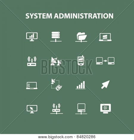 system administration, server, technology isolated icons, signs, illustrations concept set on background. vector