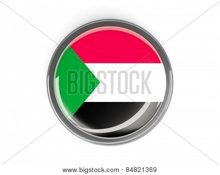 Round Button With Flag Of Sudan