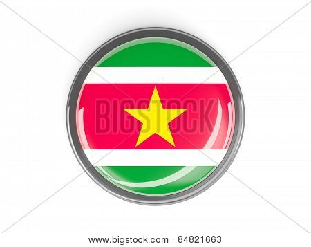 Round Button With Flag Of Suriname