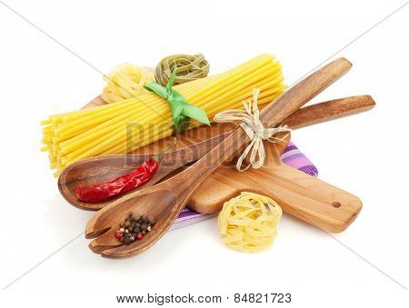 Pasta and spices. Isolated on white background