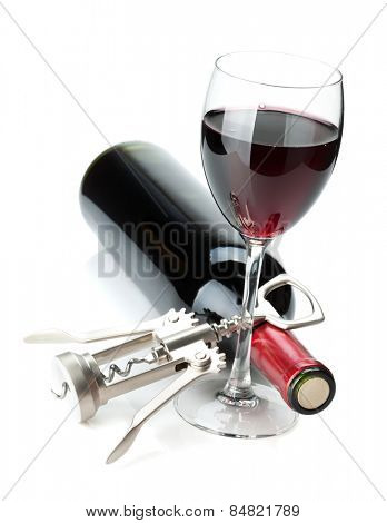 Red wine glass, bottle and corkscrew. Isolated on white background