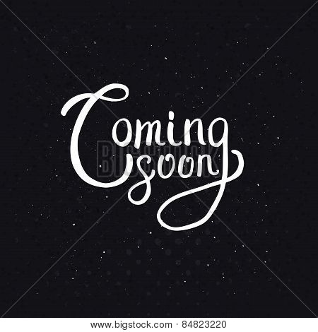 Coming Soon Texts on Abstract Black Background