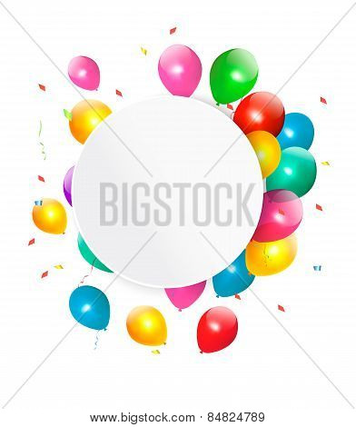 Happy Birthday Gift Card With Baloons. Vector.